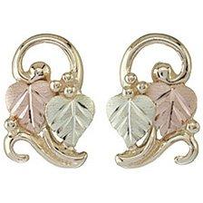 Black Hills Gold Earrings 2 Leaves Fancy Post