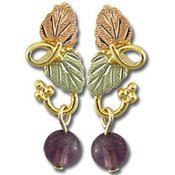 Black Hills Gold Amethyst Bead Dangle Post Earrings