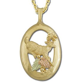 Black Hills Gold Leaping Deer Buck Necklace Unisex Solid Gold