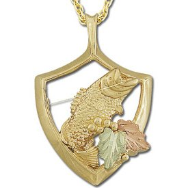 Black Hills Gold Caught Fish Necklace Unisex Solid Gold