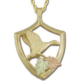 Black Hills Gold Flying Duck Necklace Unisex Solid Gold