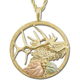Black Hills Gold Elk Bull Necklace Unisex Solid Gold
