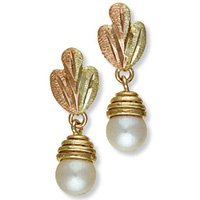 Black Hills Gold White Pearl Earrings Simple Beauty