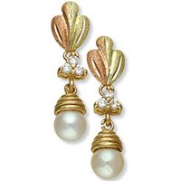 Black Hills Gold Diamonds & White Pearl Earrings