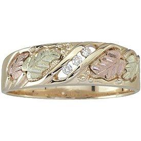 Black Hills Gold Ring Mens Wedding Band Diamond .06