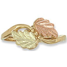Black Hills Gold 2 Leaf 3 Grapes Ladies Ring