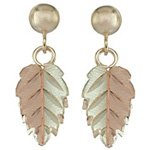 Black Hills Gold Earrings Single 2 Toned Leaves Post