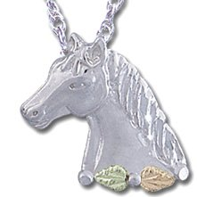Black Hills Gold Leaves On Silver Horse Necklace