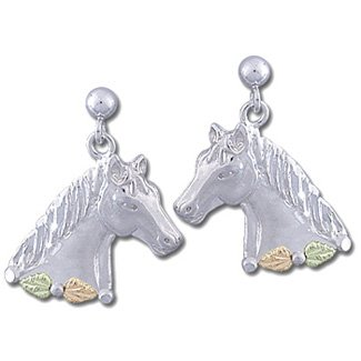 Black Hills Gold Leaves On Silver Horse Post Earrings