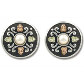 Black Hills Gold Pearl Antiqued Button Sterling Silver Earrings