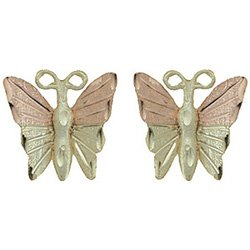 Black Hills Gold Earrings 4 Leaf Butterfly Post