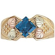 Black Hills Gold Ring Ladies London Blue Topaz