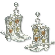 Black Hills Gold Sterling Silver Cowboy Boots With Spurs Earrings