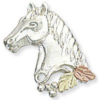 Black Hills Gold On Sterling Silver Horse Tie Tack / Hat Pin