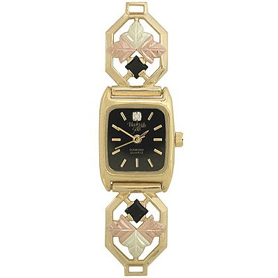 Black Hills Gold Watch Ladies 6 Leaves Diamond Black Onyx