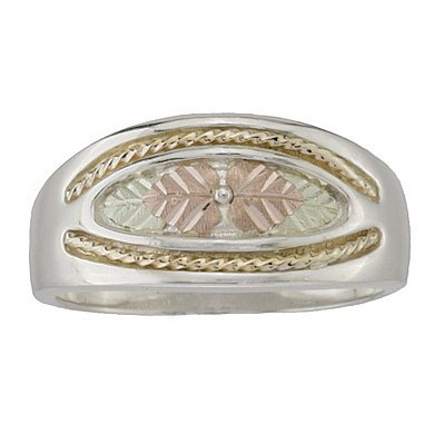 Black Hills Gold Ring Mens Wedding Band Sterling Silver Unique