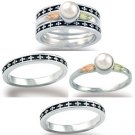 Black Hills Gold Pearl Antiqued Sterling Silver Stacker Ladies Ring