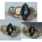 Black Hills Gold Ring Ladies Mystic Fire Topaz Open Style