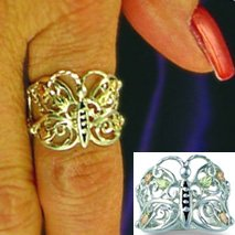 Black Hills Gold & Sterling Silver Butterfly Ladies Ring