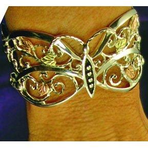 Black Hills Gold & Sterling Silver Butterfly Cuff Bracelet