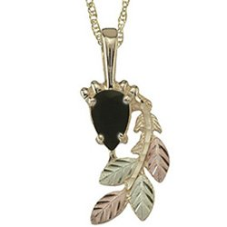 Black Hills Gold Necklace Faceted Pear-Shaped Black Onyx