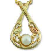 Black Hills Gold White Pearl Pendant / Necklace