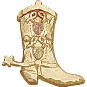 Black Hills Gold Cowboy Boot & Spur Tie Tack / Hat Pin