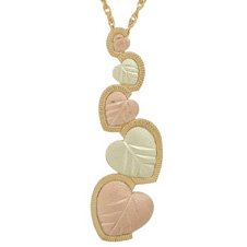 Black Hills Gold Necklace 5 Graduated Hearts