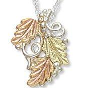 Black Hills Gold 3 Leaves Sterling Silver Necklace
