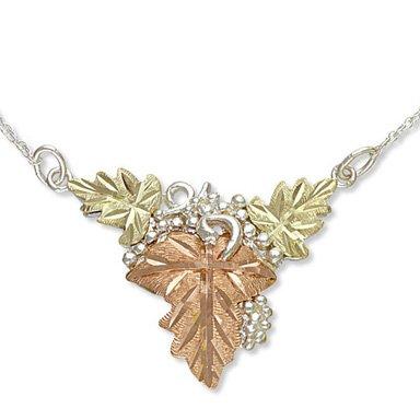 Black Hills Gold 3 Leaves On Sterling Silver Vines Grapes Necklace