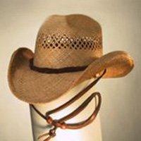 Shady Brady Cowboy Hat Bon Jovi Raffia Straw Rawhide Band Chinstrap Small