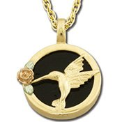 Black Hills Gold Black Onyx 10K Gold Hummingbird Necklace