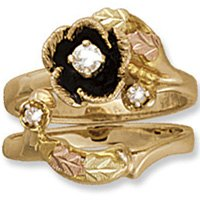 Black Hills Gold 4 Leaves Diamond Antiqued Rose14 K Wedding Set .14 TDW