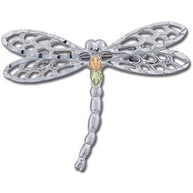 Black Hills Gold On Sterling Silver Dragonfly Brooch