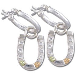 "Black Hills Gold Horseshoe 1"" Sterling Silver Hoop 2-In-1 Earrings Latch Closure"