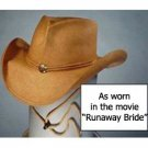 "Shady Brady Hat Toyo Straw ""Julia"" Cowboy Leather Band Chin Strap Medium Unisex"