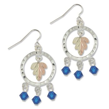 Black Hills Gold With Blue Swarovski Crystal Sterling Silver Earrings
