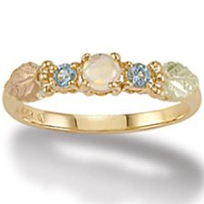Black Hills Gold Genuine Blue Topaz & Lab Created Opal Ladies Ring