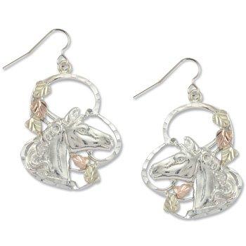 Black Hills Gold 5 Leaf Horse Sterling Silver Hook Earrings