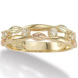 Black Hills Gold Leaves & White Topaz Ladies Ring