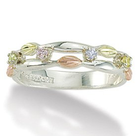 Black Hills Gold Rainbow Cubic Zirconia Sterling Silver Ladies Ring