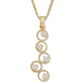 Black Hills Gold Eternal Circle Clear Cubic Zirconia  Necklace