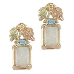 Black Hills Gold Blue Topaz Lab Created Opal Earrings
