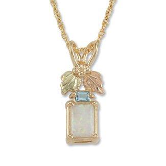Black Hills Gold Blue Topaz Baguette Lab Created Opal Necklace