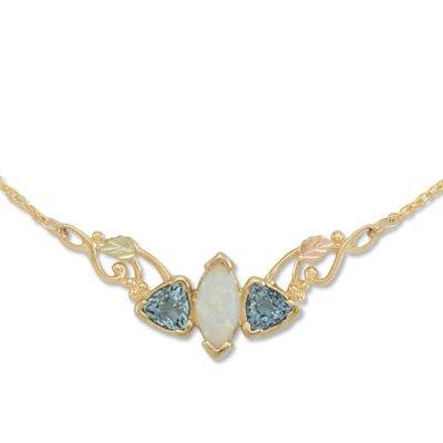 Black Hills Gold Blue Topaz Trillion Lab Created Opal Festoon Necklace
