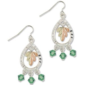 Black Hills Gold With Green Swarovski Crystal Sterling Silver Earrings