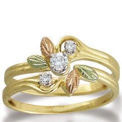 Black Hills Gold Diamond .14 Wedding Ring Set