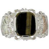 Black Hills Gold Ring Mens Tigers Eye Strerling Silver