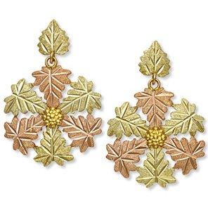 Black Hills Gold 7 Leaves & Grapes Post Earrings