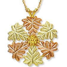 Black Hills Gold 7 Leaves & Grapes Necklace